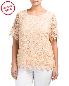 Plus Lace Elbow Sleeve Top