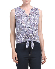 Sleeveless Button Up Tie Front Top