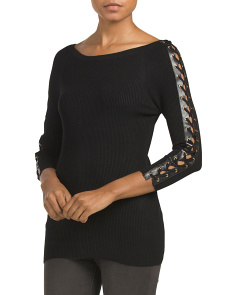 Faux Leather And Lace Up Sleeve Top