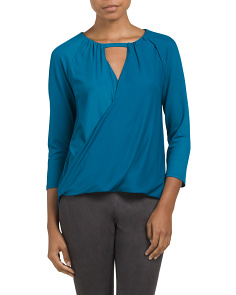 Three Quarter Sleeve Wrap Top
