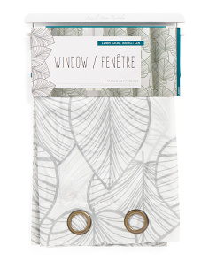 76x84 Leaf Print Set Of 2 Curtains