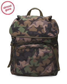 Made In Italy Camo Star Print Nylon Bagpack