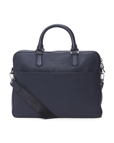Top Zip Grained Leather Briefcase