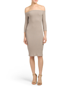 Juniors Ribbed Off Shoulder Bodycon Dress