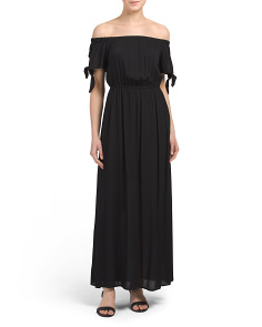 Juniors Off The Shoulder Gauze Maxi Dress