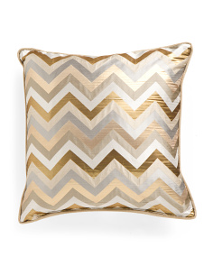 22x22 Gold Metallic Zig Zag Pillow