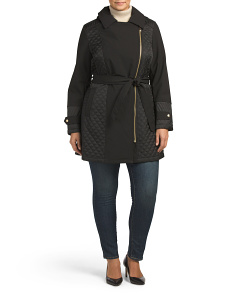 Plus Quilted Asymmetrical Zip Coat