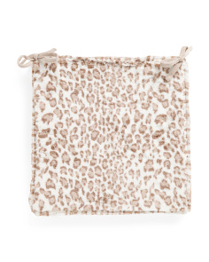Leopard Print Faux Fur Seat Cushion