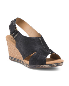 Crossband Leather Wedges