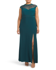 Plus Mesh Bodice With Mesh Waist Gown