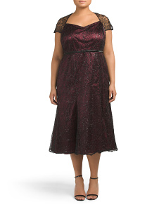 Plus Tea Length Lace Dress With Sequins
