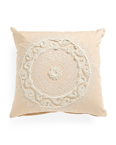 Made In India 22x22 Embroidered Medallion Pillow