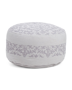 Modern Embroidered Floor Pouf
