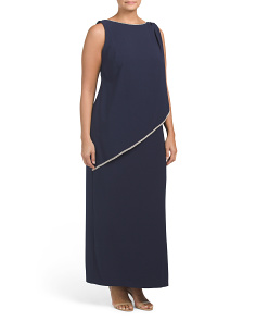 Plus Made In USA Crepe Gown With Front Overlay