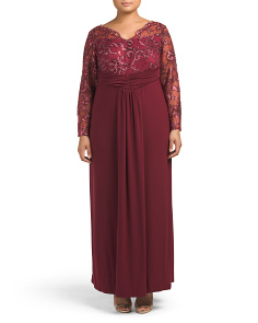 Plus Made In USA Lace Gown With Jersey Skirt