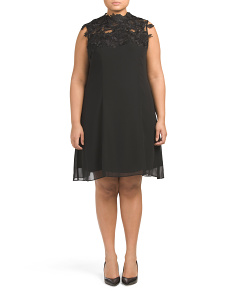 Plus Lace Applique Yoke Dress