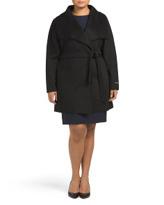 Plus Ella Double Faced Wool Wrap Coat