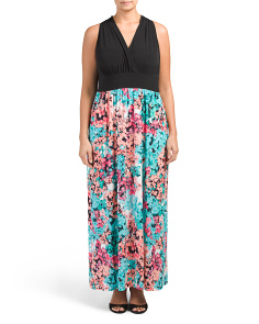 Plus Hydrangia Mix Maxi Dress