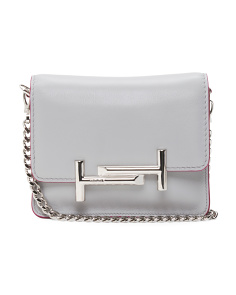 Made In Italy Mini Double T Leather Crossbody