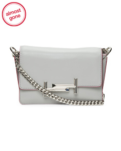 Made In Italy Mini Double T Metal Leather Crossbody