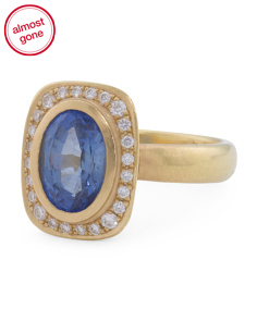 Handcrafted In USA 18k Gold Diamond And Sapphire Ring
