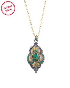 Handcrafted In USA Diamond Sapphire Emerald Locket Necklace