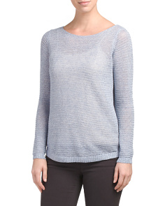 Marled Linen Blend Pullover Sweater