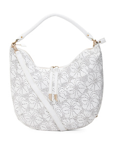 Perforated Floral Leather Hobo
