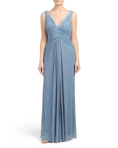 Shirred Bodice Crystal Trim Gown