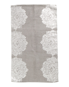 Made In India 2x4 Foil Printed Medallion Scatter Rug