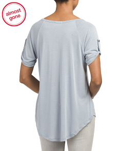 Juniors Tab Sleeve V Neck Tunic