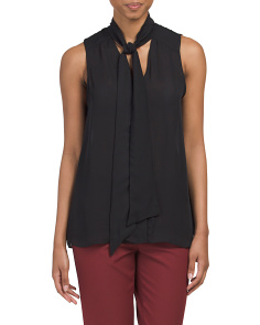 Sleeveless Tie Front Top