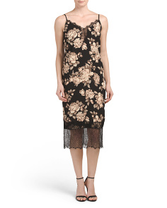Juniors Floral Lace Inset Midi Slip Dress