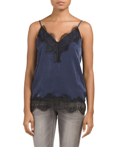 Juniors Lace Inset Satin Lingerie Tank