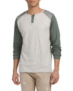 Long Sleeve Space Dye Henley Shirt