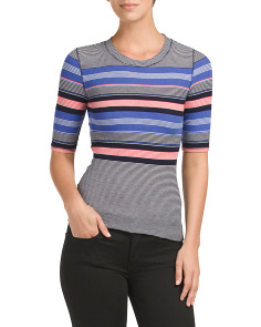 Juniors Elbow Sleeve Rib Top