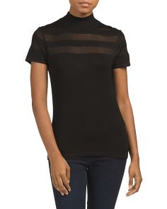 Mock Neck Top With Stripe Detail