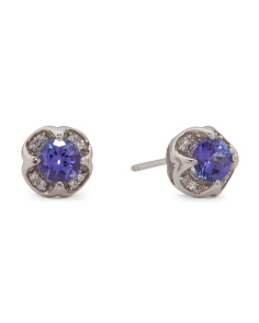 14k Gold Tanzanite And Diamond Stud Earrings
