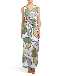 Sleeveless Vine Printed Maxi Dress