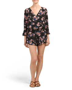 Juniors Bell Sleeve Dark Floral Romper