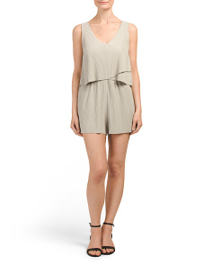 Juniors Asymmetrical Flounce Pleat Romper