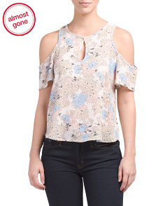 Juniors Cold Shoulder Floral Top