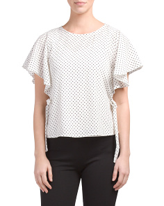 Juniors Polka Dot Flutter Top