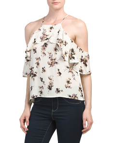 Juniors Cold Shoulder Ruffle Top