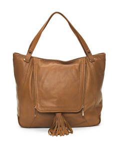 Priscilla Large Tassel Leather Tote