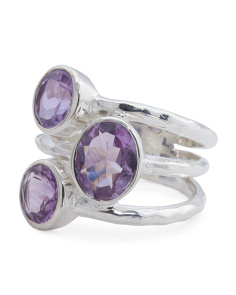 Made In India Sterling Silver Triple Gemstone Ring