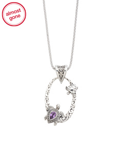 Made In Bali Sterling Silver Amethyst Turtle Necklace