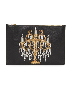 Made In Italy Studded Crystal Embellished Leather Clutch
