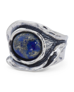 Made In Israel Sterling Silver Lapis Oval Eye Ring