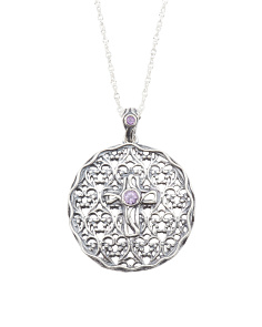 Made In Israel Sterling Silver Amethyst Disk Necklace